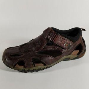 Merrell Burgundy Leather Closed Toe Sandals